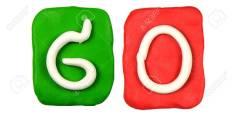 Colorful plasticine alphabet form word GO